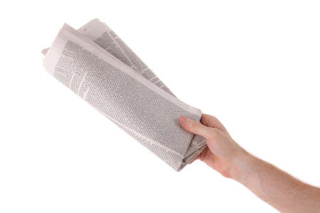 correspondent: Male hand give newspaper. Isolated on white