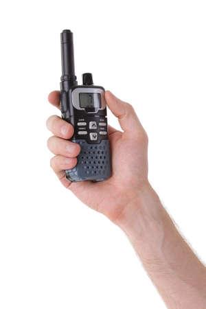 cb phone: Portable UHF radio transceiver isolated on white background