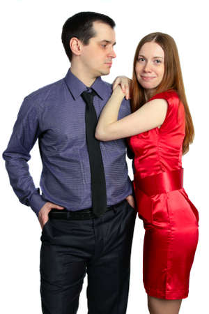 flirtation: Man looks at a woman. beautiful couple isolated on white background Stock Photo