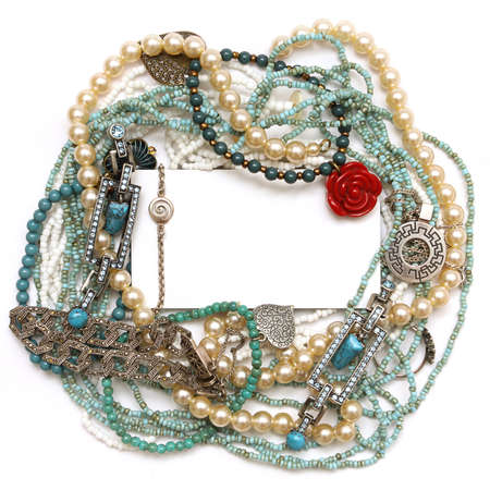 platinum: Frame of jewelry: silver, turquoise, pearls, coral, platinum and diamonds Stock Photo