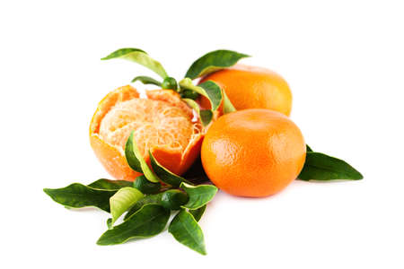 Mandarin or Tangerine Fruit on White Background. Mandarins with Green Leaves Isolated with Shadow Stock Photo