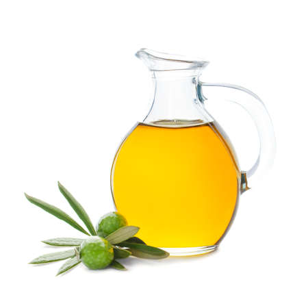 Green Olives and Glass Bottle of Olive Oil Isolated on White Background