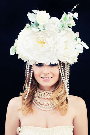 Beautiful Woman Fashion Model with White Flowers Wreath. Classic Young Beauty Stock Photo