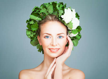 finnish bath: Spa Woman Fashion Model Smiling. Bath, Finnish Sauna and Skincare Concept Stock Photo