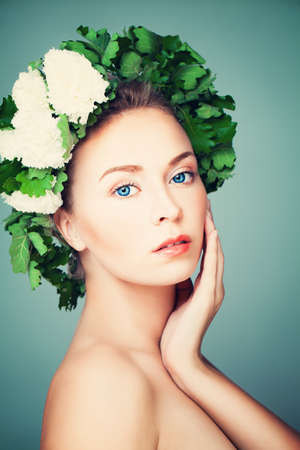 finnish bath: Beautiful Woman Model in Wreath of Green Leaves. Body Care and Health Care Concept