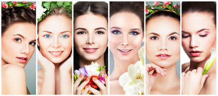 Beautiful Women with Flowers. Perfect Face. Fashion Makeup, Flowers and Flower Wreath, Set