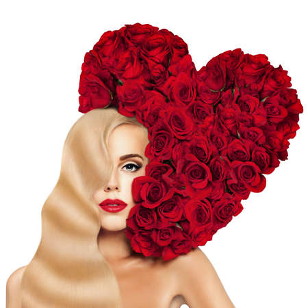 Glamorous Blonde Woman Fashion Model with Long Permed Hairstyle, Red Lips Makeup and Heart of Red Rose Flower. Evening Make up and Hollywood wave Hairstyle of Long Shiny Hair.