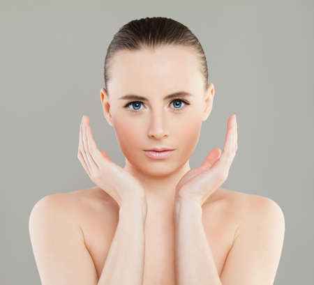 Young Spa Woman with Healthy Skin. Perfect Female Face Stock Photo