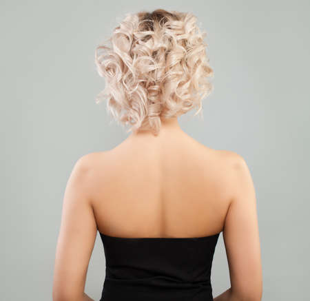 Blonde Woman with Curly Bob Hairstyle, Female Back