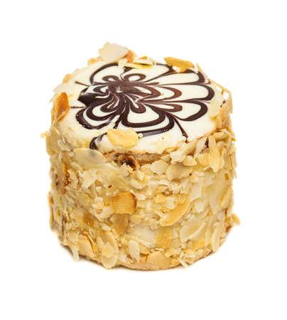 Napoleon Cake Isolated over White Background Stock Photo