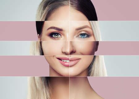 Bei volti di giovane donna. Concetto di chirurgia plastica. Felice donna bionda e bruna, collage di volti diversi.