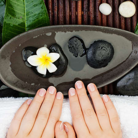 Spa manicure. Beautiful female hands with bowl of water, flowers, green leaves, towel and cream tubes