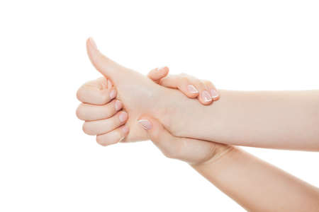 Hand  thumb up isolated on white background Imagens
