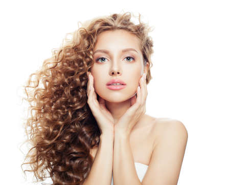 Beautiful spa woman with healthy skin and perfect wavy hair isolated on white background, spa beauty, cosmetology, facial treatment and wellness concept