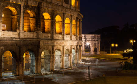 Night view of Colosseum in Rome, Italy. Rome ruins, architecture and landmark