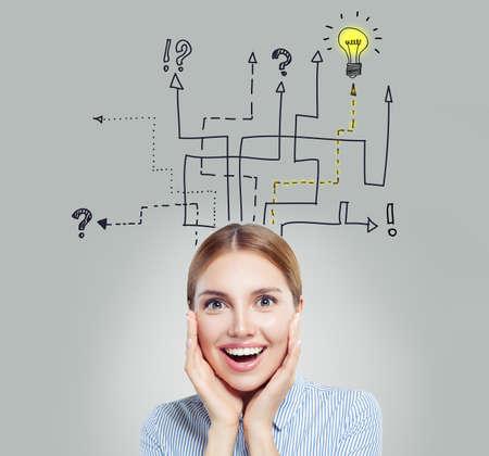 Smart woman with yellow lightbulb. Brainstorm, ideas, problem and solution concept Banco de Imagens - 120581115
