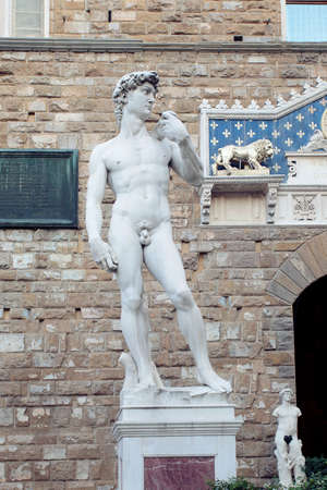 Florence sculpture of David Michelangelo in Piazza Della Signoria Florence, Italy. Firenze landmarks