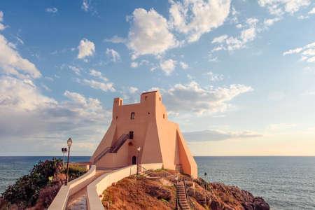 Lighthouse of Sperlonga and beautiful sky with clouds Stockfoto