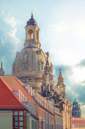 Drezden Skyline. The beauty of architecture in the streets and squares of Dresden