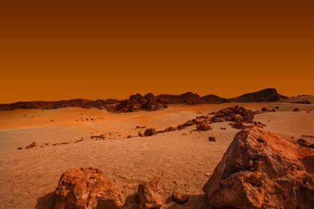 landscape on planet Mars, scenic desert scene on the red planet Stock Photo