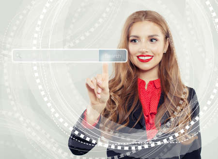 Happy business woman pointing to empty address bar in virtual web browser. Seo, internet marketing, distance learning and advertising marketing concept