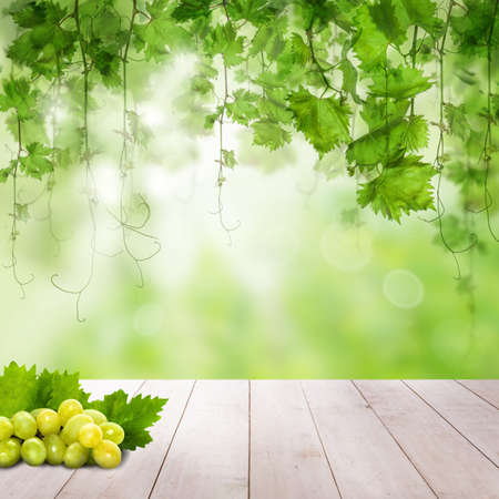 Green Grapes on wooden table. Sunny background