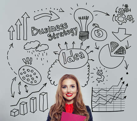 Happy businesswoman planning . Business idea and brainstorming