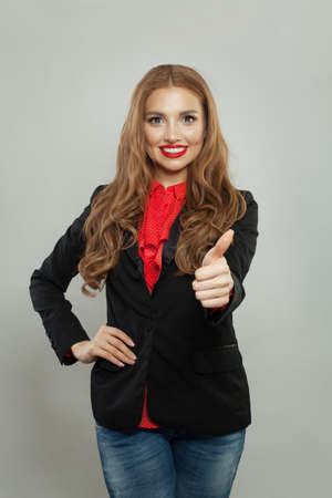 Smart woman showing thumb up on white