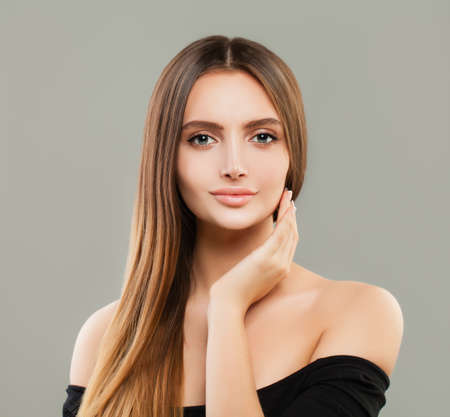 Cheerful model woman with brown hair portrait Stock Photo