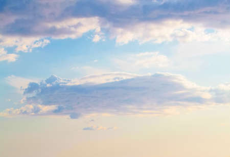Blue sky clouds background. Beautiful landscape with clouds and sun Stock Photo