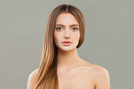 Perfect womanl with clear skin and long hair