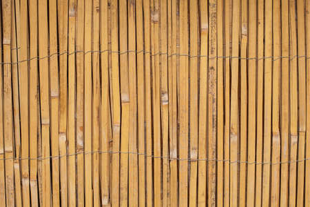 Vintage Wooden bamboo Background. Thin cane bamboo tied together with wire background