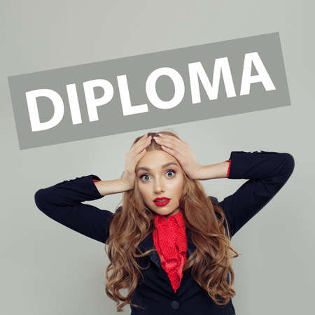 Shocked woman student with diploma inscription