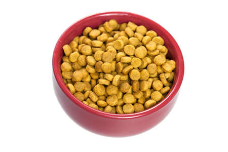 Dry cat food in red bowl isolated on white