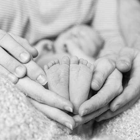 Feet of Newborn baby feet in parent hands, black and white photo.