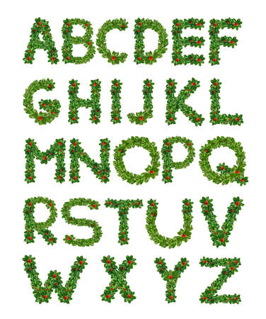 Holly With Berry Letters alphabet. Holly Leaves with berry's in the form of the letters. Isolated on white