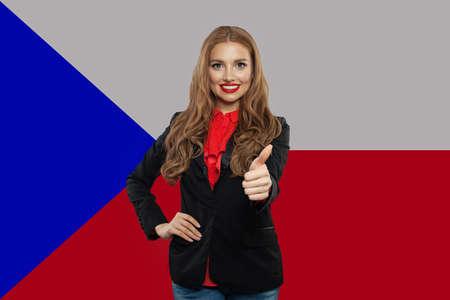 Travel in Czech Republic and learn czech language. Brunette woman student against the Czech Republic flag background Stok Fotoğraf
