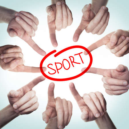 Many hands point to sign Sport.