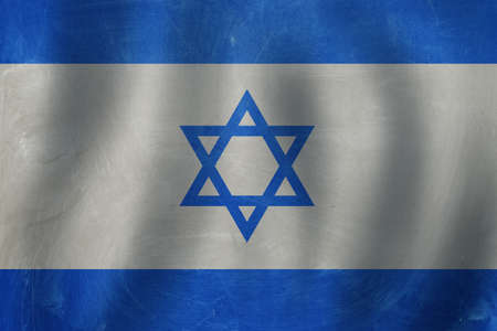 The Israel flag in blue and white
