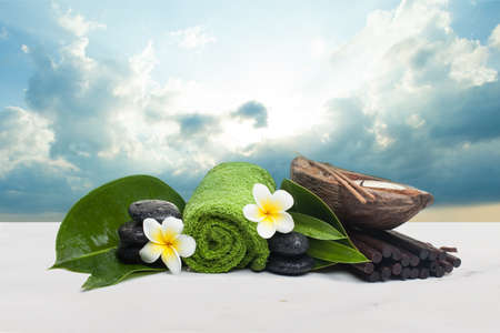 Spa Objects ready for healthy therapy on white background.