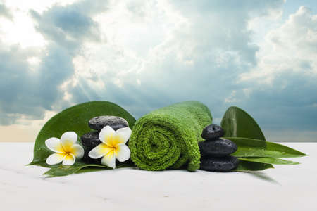 Spa objects for tropical healthy therapy with towel and flowers. Фото со стока