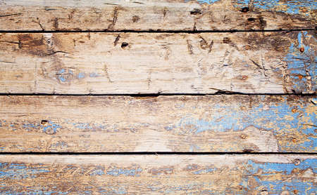 Rustic Old blue wooden background. Top view on wood planks.