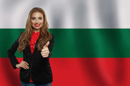 Love Bulgary concept. Happy woman with Bulgarian flag