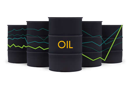 Black crude oil barrels with statistics chart isolated on white. Oil prices are rising