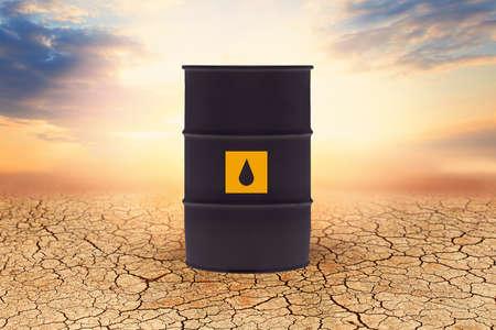 Crude oil barrel against sky clouds