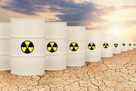 Radioactive waste barrels. Toxic nuclear pollution concept
