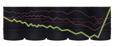 Crude oil barrels and statistics chart with growing arrows isolated on white