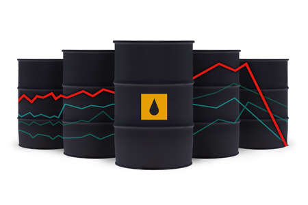 Oil barrels and statistics chart with down arrows isolated on white background
