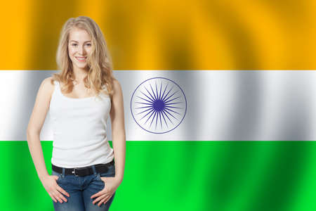 India concept. Happy woman on the India flag background. Travel and learn hindi language