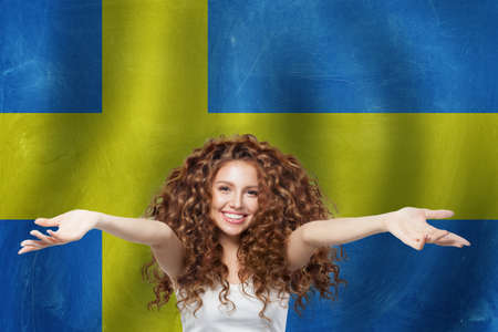 Old Sweden flag background. Travel and learn Sweden concept Imagens